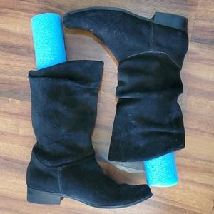 Black Suede Leather Scrunch Booties